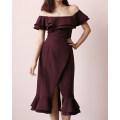 Dress Autumn of 2018 XS,S,M,L Mid length dress singleton  commute One word collar High waist Ruffle Skirt 18-24 years old TANSSHOP Lotus leaf edge polyester fiber
