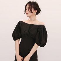 Dress / evening wear Wedding, adulthood, party, company annual meeting, performance, routine, appointment S,M,L,XL Black, pink longuette High waist Autumn 2020 zipper polyester fiber D736 Long sleeves Solid color bishop sleeve