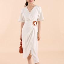 Dress Summer of 2019 white XS,S,M,L V-neck High waist Solid color