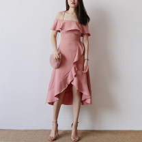 Dress Summer of 2018 White, peacock blue, black, dark green, orange, pink S,M,L Mid length dress singleton  Short sleeve commute One word collar High waist Solid color Irregular skirt other Others 18-24 years old Type A Other / other Korean version Lotus leaf edge D246