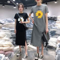 Dress Summer 2020 S,M,L,XL,2XL,3XL,4XL Mid length dress singleton  Short sleeve commute Crew neck Loose waist letter Socket One pace skirt routine 18-24 years old Type A Korean version polyester fiber