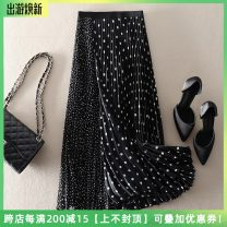 skirt Spring 2021 S,M,L black Mid length dress street High waist A-line skirt Dot Type A Stitching, printing Europe and America