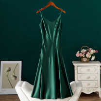 Dress Summer 2021 Apricot, black, green S,M,L,XL Mid length dress singleton  Sleeveless street V-neck Solid color Socket camisole Type X BYREL Open back, stitching More than 95% Cellulose acetate Europe and America