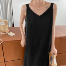 Dress Summer 2021 Black, black (crossed shoulder), black (thin shoulder), black (thin shoulder star), black (double shoulder), black (side split) One, two, three, four, five, six longuette singleton  Sleeveless commute V-neck Loose waist Solid color Socket A-line skirt routine camisole Type A GT99055