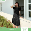Dress Summer 2021 black One, two, three, four Mid length dress singleton  Short sleeve commute tailored collar Loose waist Solid color double-breasted Pleated skirt Bat sleeve Type H Korean version 51% (inclusive) - 70% (inclusive) cotton