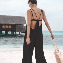 Casual pants black Average size Summer of 2019 trousers Jumpsuit High waist street Thin money 18-24 years old 81% (inclusive) - 90% (inclusive) MAS polyester fiber straps polyester fiber Europe and America