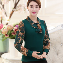 Middle aged and old women's wear Spring of 2019 Intellectuality shirt easy singleton  40-49 years old Socket moderate Lotus leaf collar routine Long sleeves