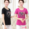 Middle aged and old women's wear Summer 2017 4XL L XL XXL XXXL Yellow gray black rose red ethnic style T-shirt Self cultivation singleton  40-49 years old Socket thin Crew neck routine cotton Short sleeve