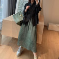 skirt Spring 2021 M, L Dirty dyed grey green Mid length dress street Natural waist Solid color Type H More than 95% MANDYSHEN silk zipper Europe and America