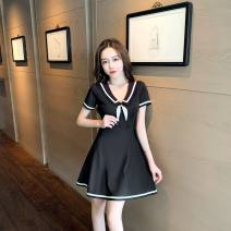 Dress Spring 2021 White, black S,M,L,XL Short skirt Short sleeve commute One word collar High waist Socket Others 25-29 years old Type A 30% and below brocade polyester fiber