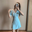 Dress Spring 2021 Light blue, black S,M,L Short skirt commute V-neck High waist Solid color Socket Big swing Hanging neck style 18-24 years old Type A 30% and below brocade cotton