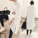 T-shirt White, gray M [80-115 Jin], l [116-130 Jin], XL [131-155 Jin] Spring 2021 Long sleeves Crew neck easy Medium length routine commute cotton 96% and above 18-24 years old Korean version literature Solid color, stitching Asymmetry