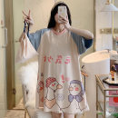 Nightdress 001 (Consumer Electronics) 5608 × cotton nightdress, 5604 × cotton nightdress, 5601 × cotton nightdress 160 (m), 165 (L), 170 (XL), 175 (XXL), pay attention to the shop and give small gifts Sweet Short sleeve pajamas Middle-skirt summer Cartoon animation youth Crew neck cotton printing