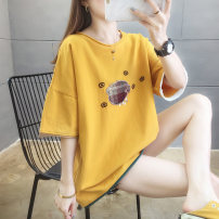 T-shirt Summer 2021 Short sleeve Crew neck easy Medium length routine commute cotton 96% and above 18-24 years old Korean version Cartoon animation Aishang online shopping 2026# Stitching, embroidery White, yellow, blue M,L,XL,2XL