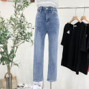 Jeans Summer 2021 blue S,M,L,XL trousers High waist Straight pants routine 25-29 years old Scratch, white, wash Cotton elastic denim 3259# 31% (inclusive) - 50% (inclusive)