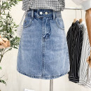skirt Summer 2021 S,M,L,XL White, light blue Middle-skirt Versatile other Solid color Type A 18-24 years old 2635# Denim straps