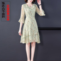 Dress Summer 2021 Picture color S,M,L,XL,2XL Mid length dress singleton  three quarter sleeve commute Doll Collar middle-waisted Decor zipper A-line skirt Lotus leaf sleeve Others Type X lady Zipper, print More than 95% Chiffon