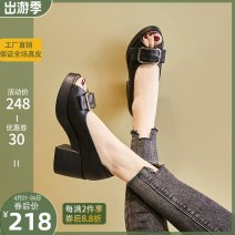 Sandals 34,35,36,37,38,39, Baodi Meiqi insists on making women's leather shoes, light and big sole, soft and comfortable, not tired feet Black, off white top layer leather Baodi Meiqi Fish mouth Slope heel High heel (5-8cm) Summer 2021 Trochanter leisure time Solid color Adhesive shoes polyurethane