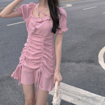 Dress Summer 2021 Black, pink S,M,L Short skirt singleton  Short sleeve commute square neck High waist Solid color Socket puff sleeve 18-24 years old Type A Other / other Korean version Lotus leaf edge