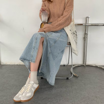 skirt Autumn 2020 S,M,L,XL Light blue, dark blue longuette commute High waist Denim skirt Type A 18-24 years old 81% (inclusive) - 90% (inclusive) Denim Other / other Korean version