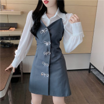 Dress Spring 2021 Grey skirt, black skirt, white shirt S, M Short skirt Two piece set Long sleeves commute V-neck High waist Solid color A-line skirt routine camisole 18-24 years old Type A Other / other Button other