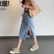skirt Spring 2021 S,M,L,XL Blue, black and gray Mid length dress commute High waist A-line skirt Type A 18-24 years old 71% (inclusive) - 80% (inclusive) other Other / other other Korean version