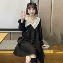 Dress Spring 2021 White, black Average size Middle-skirt singleton  Long sleeves commute Doll Collar Loose waist Solid color Socket Princess Dress routine Others 18-24 years old Type A Korean version Splicing