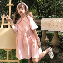 Dress Spring 2021 Pink, beige Average size (160 / 84A) Middle-skirt singleton  Short sleeve commute Admiral High waist Single breasted A-line skirt routine Others 18-24 years old Type A Other / other Korean version Splicing More than 95% cotton