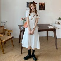 Dress Summer 2021 White, blue Average size Mid length dress singleton  Short sleeve commute square neck High waist Socket A-line skirt puff sleeve Others 18-24 years old Type A Korean version Splicing