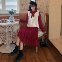 Dress Autumn 2020 White vest, red dress, purple dress, apricot dress, blue dress, green dress Average size Mid length dress Two piece set Long sleeves commute V-neck High waist Single breasted Ruffle Skirt pagoda sleeve 18-24 years old Type A Other / other Korean version Ruffles, bows