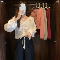 shirt Light gray, white, red, black, pink Average size Spring 2021 other 30% and below Long sleeves commute Regular V-neck Socket puff sleeve 18-24 years old Self cultivation Korean version Lace up, stitching