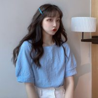 T-shirt White, blue, yellow, pink Average size Summer 2021 Short sleeve Crew neck Straight cylinder Regular puff sleeve commute other 30% and below 18-24 years old Korean version Solid color Splicing