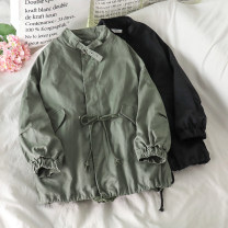 short coat Autumn 2020 Average size Black, green Long sleeves Medium length routine singleton  easy commute routine stand collar Single breasted Solid color 18-24 years old 51% (inclusive) - 70% (inclusive) other