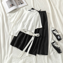Fashion suit Spring 2021 Average size White top, black skirt, black top, white skirt 18-25 years old Other / other 31% (inclusive) - 50% (inclusive) cotton