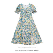 Dress Summer 2021 Daisy dress S,M,L Mid length dress singleton  Short sleeve commute V-neck High waist Solid color Socket A-line skirt puff sleeve 18-24 years old Type A Korean version 51% (inclusive) - 70% (inclusive) polyester fiber