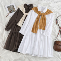 Dress Spring 2021 Yellow shawl, white dress, apricot shawl, brown dress Average size Mid length dress Two piece set Long sleeves commute Polo collar High waist Solid color Socket A-line skirt routine 18-24 years old Type A Korean version 51% (inclusive) - 70% (inclusive) polyester fiber