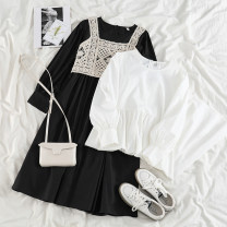 Dress Spring 2021 White dress, black dress, apricot Crochet vest Average size Mid length dress Two piece set Long sleeves commute Crew neck Solid color other other puff sleeve 18-24 years old Korean version 71% (inclusive) - 80% (inclusive) other polyester fiber