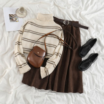 Fashion suit Winter 2020 Average size Apricot striped sweater, brown skirt 18-25 years old 71% (inclusive) - 80% (inclusive)