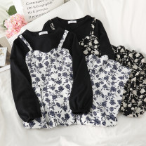 Dress Spring 2021 Two black and two white Average size longuette Fake two pieces Long sleeves commute Crew neck High waist Broken flowers Socket A-line skirt routine camisole 18-24 years old Type A Korean version Zipper, print 51% (inclusive) - 70% (inclusive) Chiffon