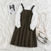 Fashion suit Spring 2021 Average size Caf color back belt skirt, black back belt skirt, white round neck shirt 18-25 years old 51% (inclusive) - 70% (inclusive) polyester fiber