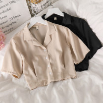 Lace / Chiffon Summer 2021 Black, apricot Average size Short sleeve commute Cardigan singleton  Straight cylinder have cash less than that is registered in the accounts tailored collar Solid color routine 18-24 years old Korean version 51% (inclusive) - 70% (inclusive) cotton