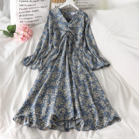 Dress Spring 2021 Picture color S, M longuette singleton  Long sleeves commute High waist Broken flowers Socket puff sleeve Others 18-24 years old Korean version 51% (inclusive) - 70% (inclusive)