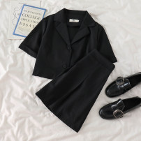 Fashion suit Spring 2021 S,M,L Black top, black skirt 18-25 years old 51% (inclusive) - 70% (inclusive)