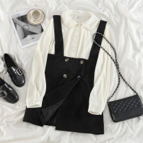 Fashion suit Spring 2021 S. M, average size Off White Velvet shirt, Bach black strap skirt 18-25 years old 71% (inclusive) - 80% (inclusive) polyester fiber