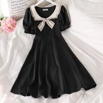 Dress Summer 2021 black M, L Mid length dress singleton  Short sleeve commute High waist Socket A-line skirt puff sleeve Others 18-24 years old Type A Korean version