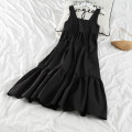 Dress Summer 2021 black Average size Mid length dress singleton  Sleeveless commute square neck Loose waist Solid color other Big swing other straps 18-24 years old Type A 51% (inclusive) - 70% (inclusive) other cotton