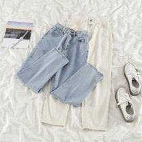 Jeans Spring 2021 Apricot, blue S,M,L,XL trousers High waist Straight pants routine 18-24 years old Cotton elastic denim light colour
