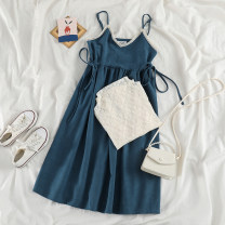 Dress Spring 2021 Lace shirt, blue skirt Average size Mid length dress Two piece set Long sleeves commute V-neck Solid color Socket A-line skirt routine camisole 18-24 years old Type A Korean version 51% (inclusive) - 70% (inclusive) other cotton
