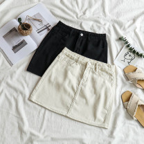 skirt Summer 2021 S,M,L,XL Black, off white Short skirt commute High waist A-line skirt Solid color Type A 18-24 years old 71% (inclusive) - 80% (inclusive) Denim polyester fiber Korean version