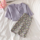 Fashion suit Summer 2021 S. M, l, average size Purple top, white top, floral skirt 18-25 years old 51% (inclusive) - 70% (inclusive)